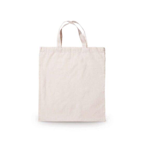Saco reutilizável de algodão de alças curtas