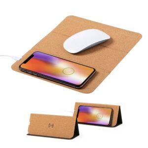 Tapete de rato de cortiça com carregador wireless