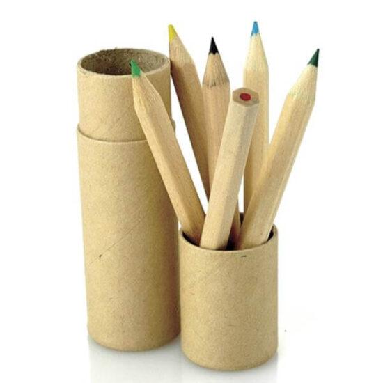 Tubo de cartão de lápis de cor infantil