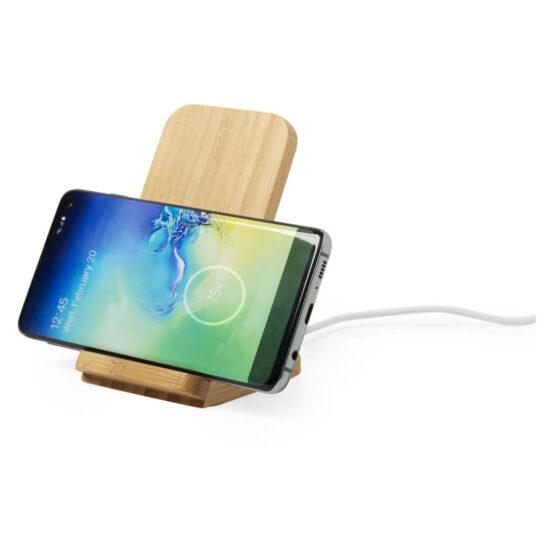 Carregador de telemóvel wireless de bambu
