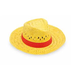chapéu de palha amarelo com fita vermelha