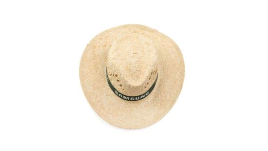 cimo de chapéu de palha com fita preta