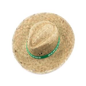 cimo de chapéu de palha com fita verde