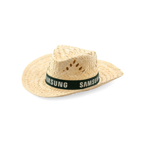 lateral de chapéu de palha com fita preta