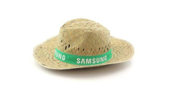 lateral de chapéu de palha com fita verde