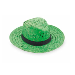 chapéu de palha verde com fita preta