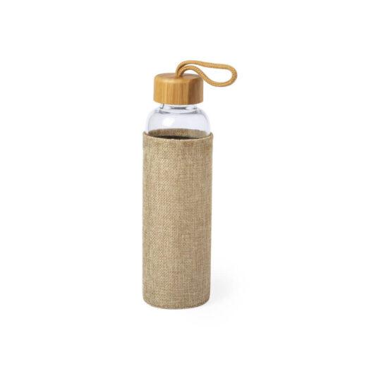 garrafa reutilizável de vidro e bambu com bolsa de juta
