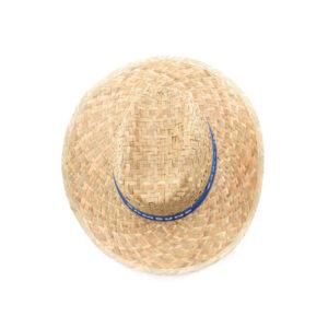 chapéu de palha com fita azul de cima