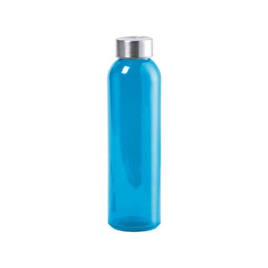 garrafa azul de vidro cristal reutilizável