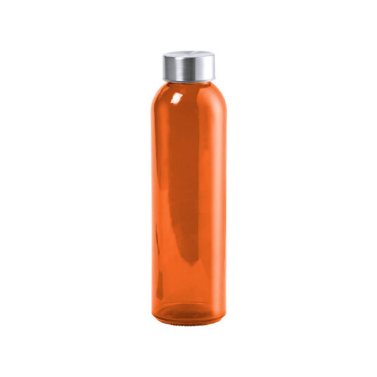 garrafa laranja de vidro cristal reutilizável