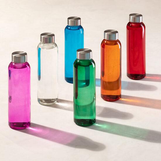 garrafas coloridas de vidro cristal reutilizáveis