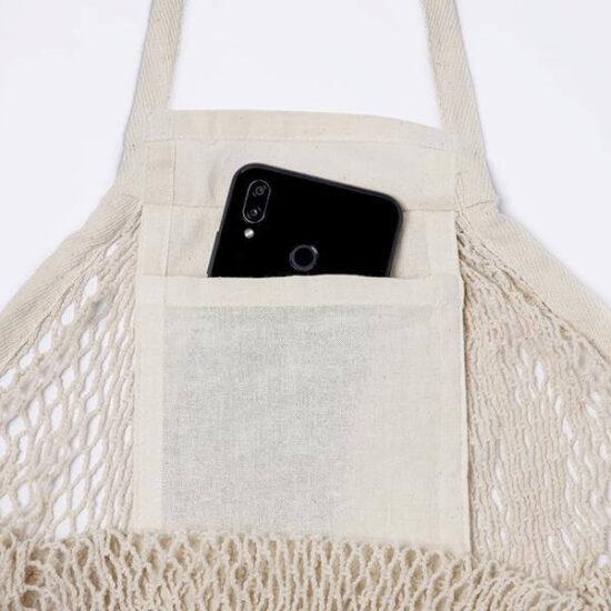 bolso de saco de algodão de rede