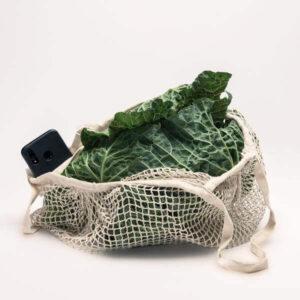 saco de algodão de rede com legumes