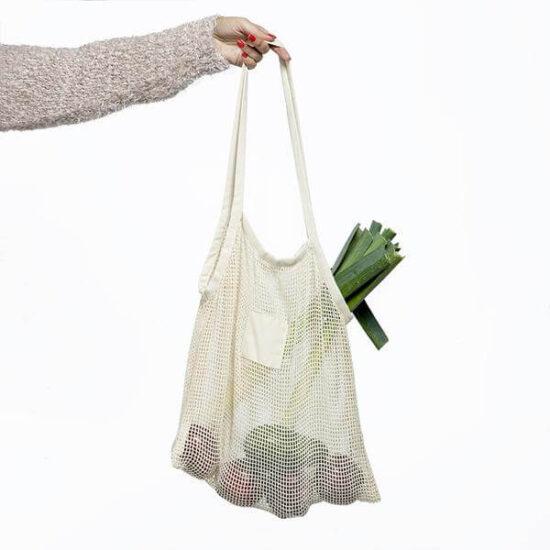 saco de algodão de rede com mercearias