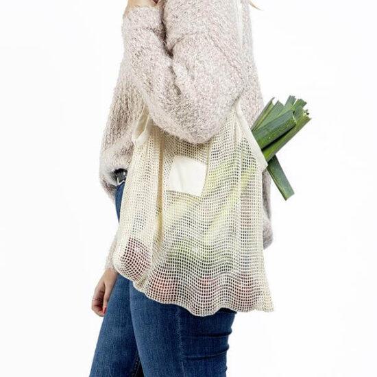 saco de algodão de rede reutilizável