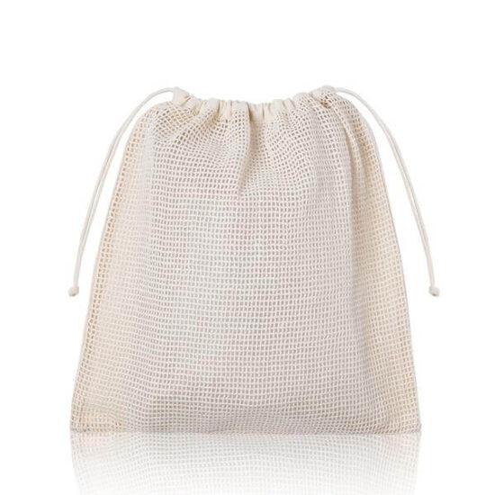saco de rede de algodão com atilhos