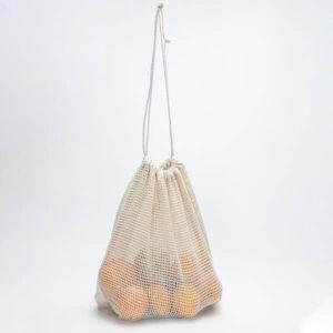 saco de rede de algodão com atilhos personalizável