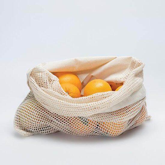 saco de rede de algodão com atilhos reutilizável