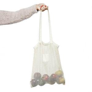 saco de rede de algodão com frutas