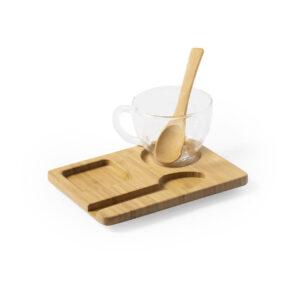 conjunto de chávena de vidro com colher e tabuleiro de bambu