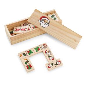 jogo dominó de madeira com figuras natalícias