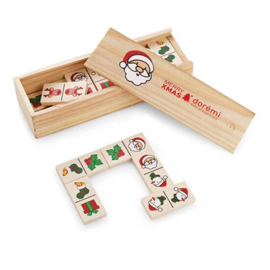 jogo dominó de madeira com figuras natalícias personalizado