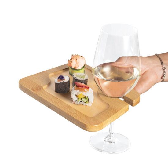 prato de bambu com suporte para copo