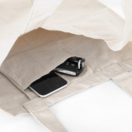 bolso interior de saco de algodão com fole