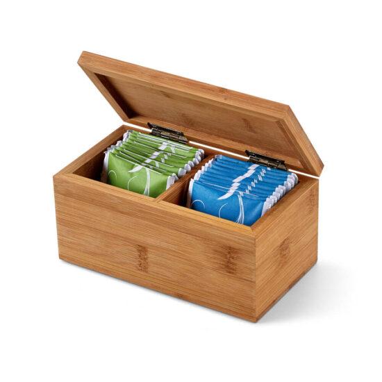 caixa de chás de bambu com chás açorianos