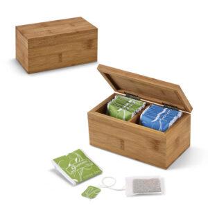 caixa de chás de bambu com dois compartimentos