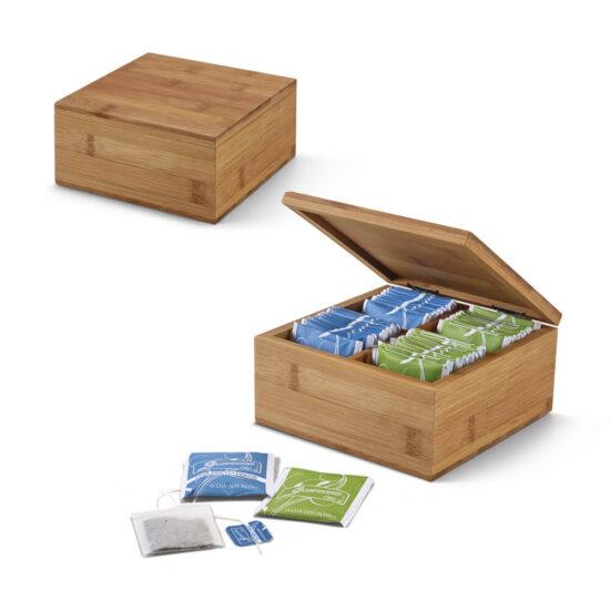 caixa de chás de bambu com quatro compartimentos