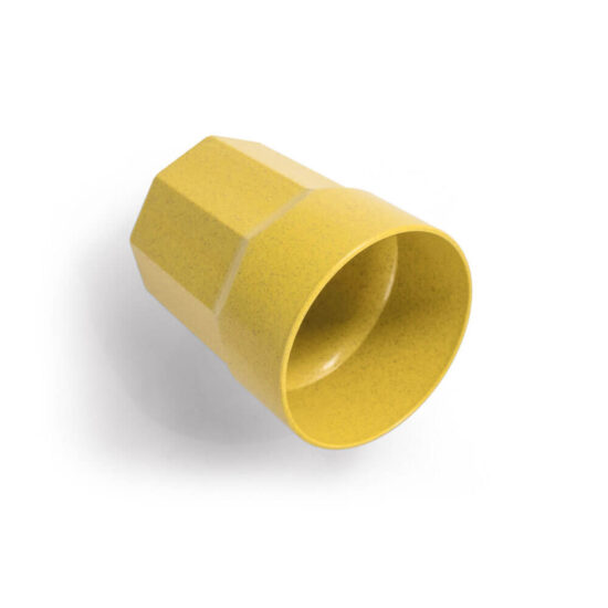 copo de fibra de arroz amarelo deitado