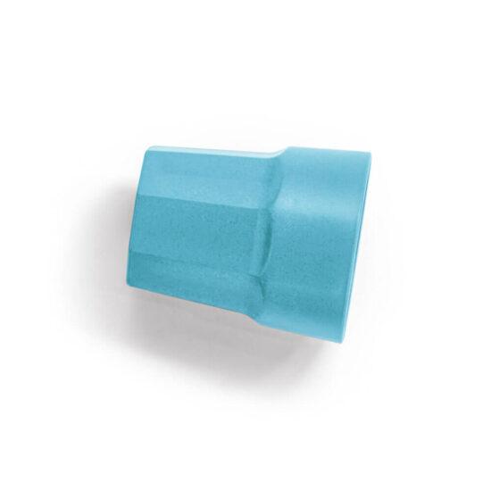 copo de fibra de arroz azul deitado