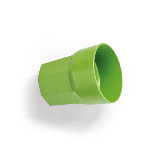 copo de fibra de arroz verde deitado