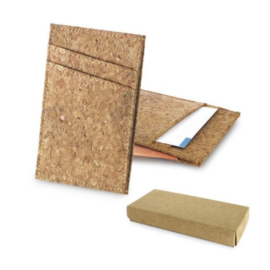 porta-cartões de cortiça com caixa kraft