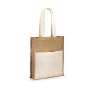 saco de juta com bolso exterior em algodão