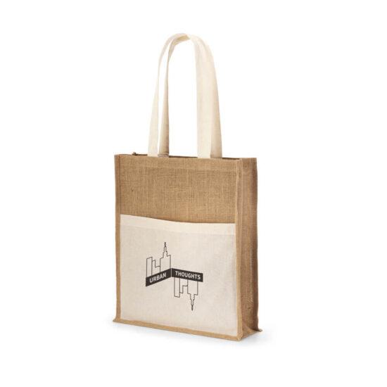 saco de juta com bolso exterior em algodão personalizado
