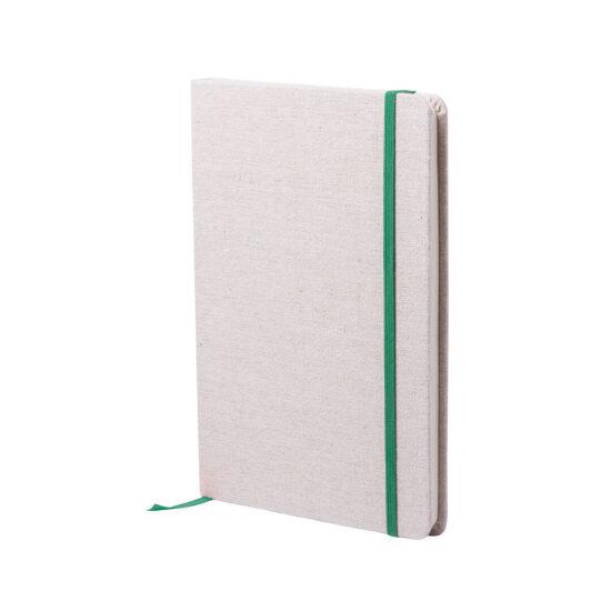 bloco de notas a5 verde com capas em algodão