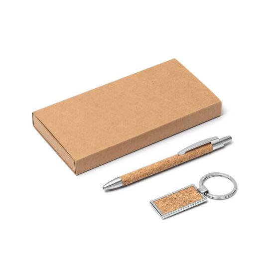 caneta e porta-chaves de cortiça com caixa kraft