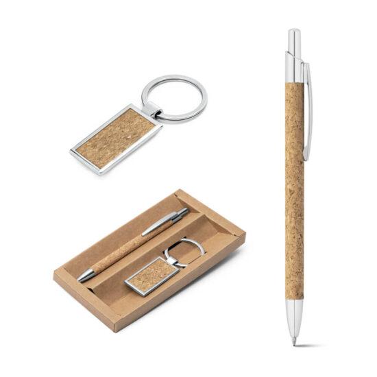 porta-chaves e caneta de cortiça metalizados