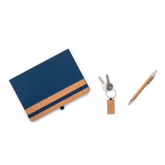 porta-chaves e caneta de cortiça com bloco