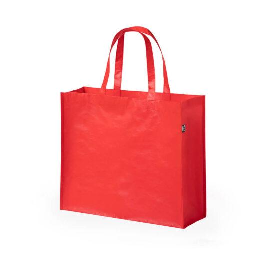 saco de compras vermelho em rpet