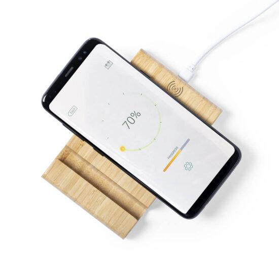 carregador wireless de bambu com suporte para telemóveis e tablets