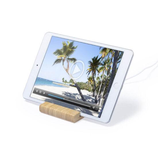 carregador wireless de bambu com suporte para tablets