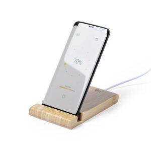 carregador wireless de bambu com suporte para telemóveis