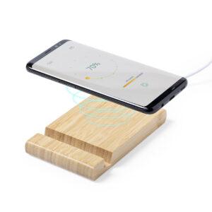 carregador wireless de bambu com suporte