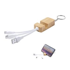 carregador de bambu e porta-chaves com suporte para smartphone