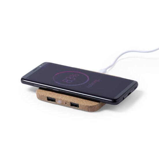 carregador de telemóvel wireless de cortiça personalizável
