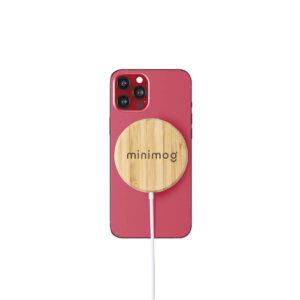 carregador de telemóvel magnético wireless de bambu