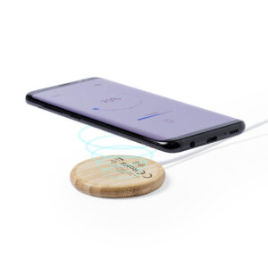 carregador magnético wireless de bambu personalizável
